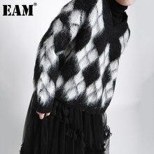 EAM-suéter de punto con estampado Argyle para mujer, Jersey holgado de manga larga con cuello en V, nueva tendencia de moda, otoño e invierno, 1DD3670, 2021