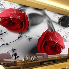 Modern Black and white Rose Wallpaper Photo Pattern Murals W
