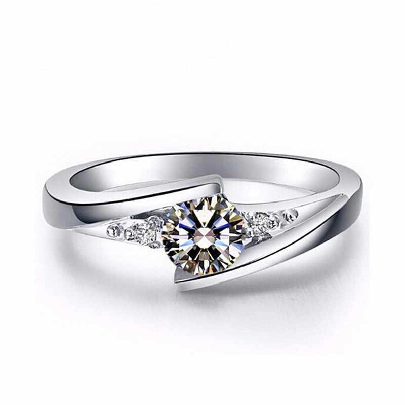יוקרה נקבה קטן זירקון אבן טבעת קריסטל 925 כסף נישואים טבעות הבטחת תכשיטי סוליטייר אירוסין טבעות לנשים