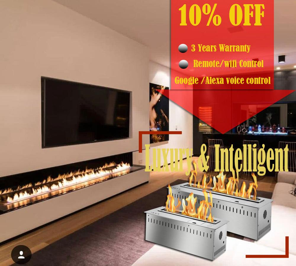Inno Living Fire 48 Inch Indoor Insert Electronic Bio Ethanol Fireplace Flame Smart