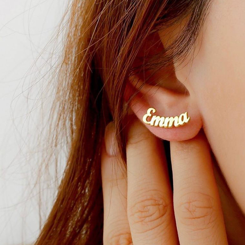 1 Pair Stainless Steel Personalized Nameplate Earring Customize Initial Cursive Name Stud Earrings For Women Bijoux Femme 2019