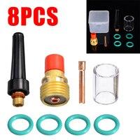 8 pçs/set 2.4mm durável tig tocha de soldagem  stubby tig lente gás #10 pyrex copo de vidro kit para WP-9 acessórios de soldagem de 20/25/3/32