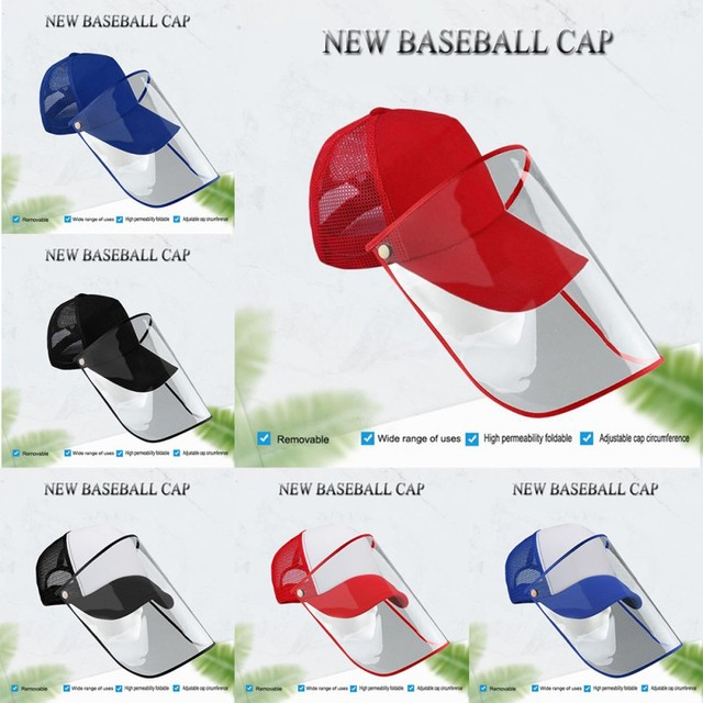 Detachable Anti-Saliva Protective Hat Cover Outdoor Baseball Hat Adjustable Unisex Peaked Cap Protective Face Shield Cover 5