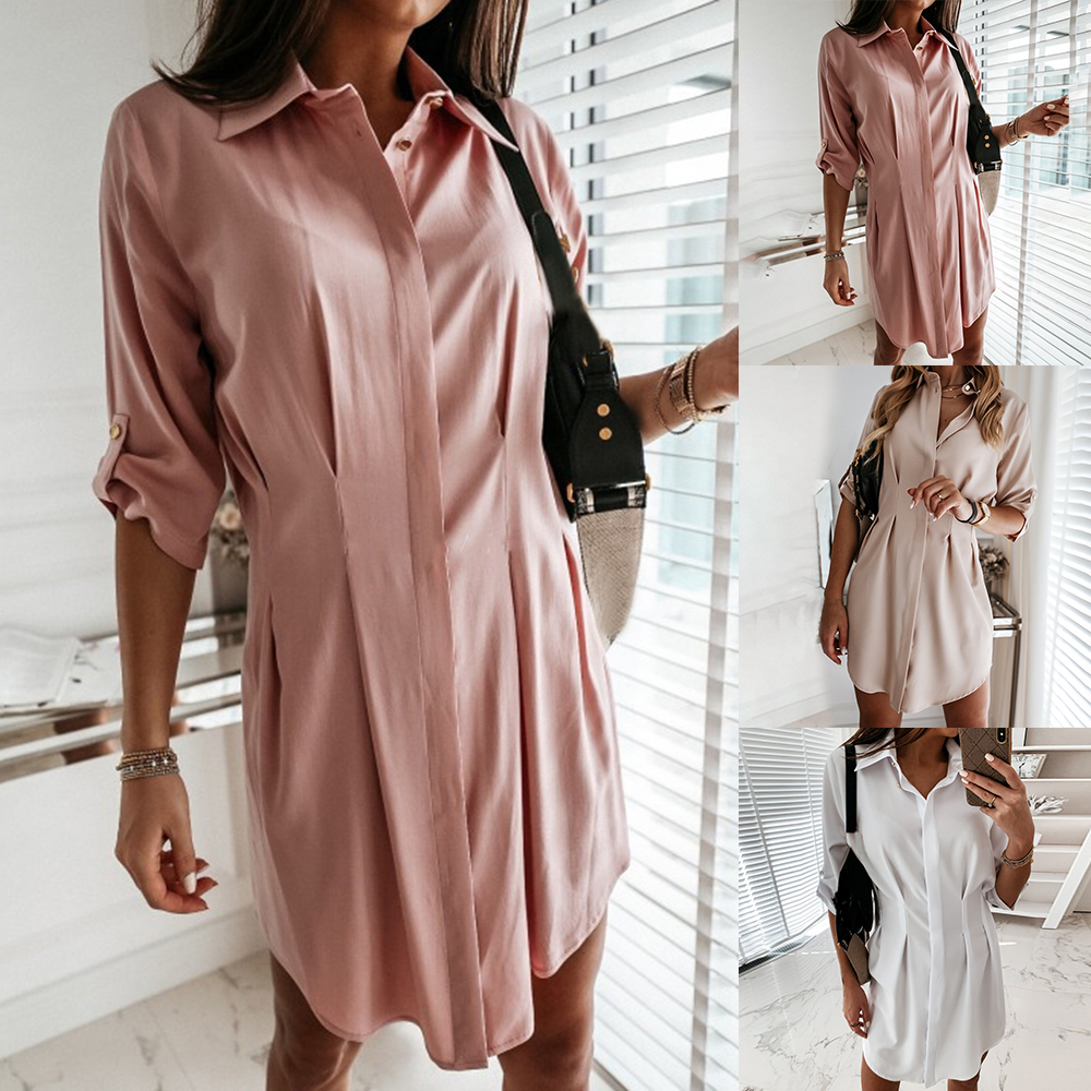 NIBESSER Women Loose Solid Dresses Turn Down Casual Ladies Office Shirt Dresses Summer Spring Long Sleeve Dresses Vestidos 2020