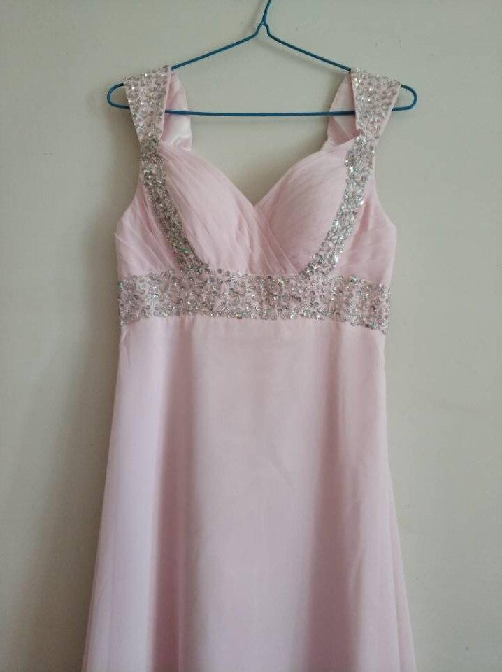 A-ligne en mousseline de soie chérie perles Crytals élégant hors épaule robes de demoiselle d'honneur pas cher robes de fête de mariage robe de soirée - 6