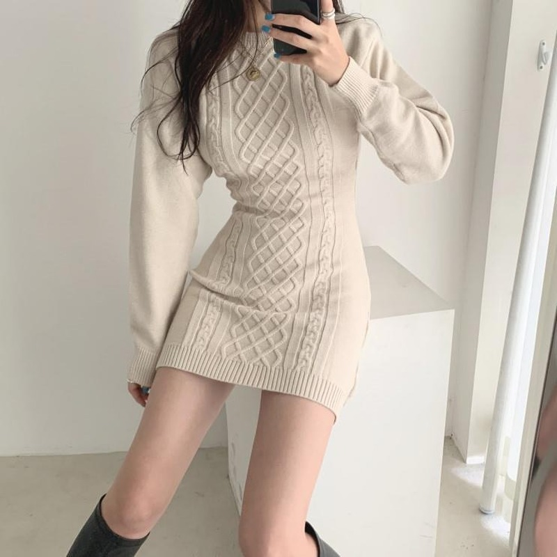 2020 New Autumn Spring Sexy Fashion Causal Dresses Female Slim Long Sleeve Elegant Mother O Neck Slim Korean Style Dress E6|Pullovers|   - AliExpress