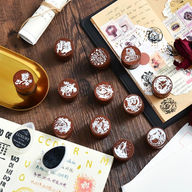 12PCS/LOT dream in departure series stamp DIY wooden rubber stamp scrapbooking stationery scrapbooking standard stamp