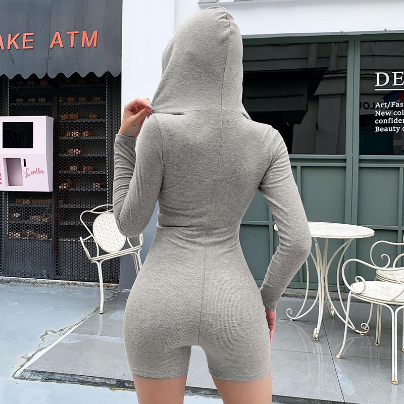 2020 Autumn Women Sexy Jumpsuit Streetwear Long Sleeve Bodycon Solid Winter Sport Jumpsuits Romper Playsuit For Women With Hood