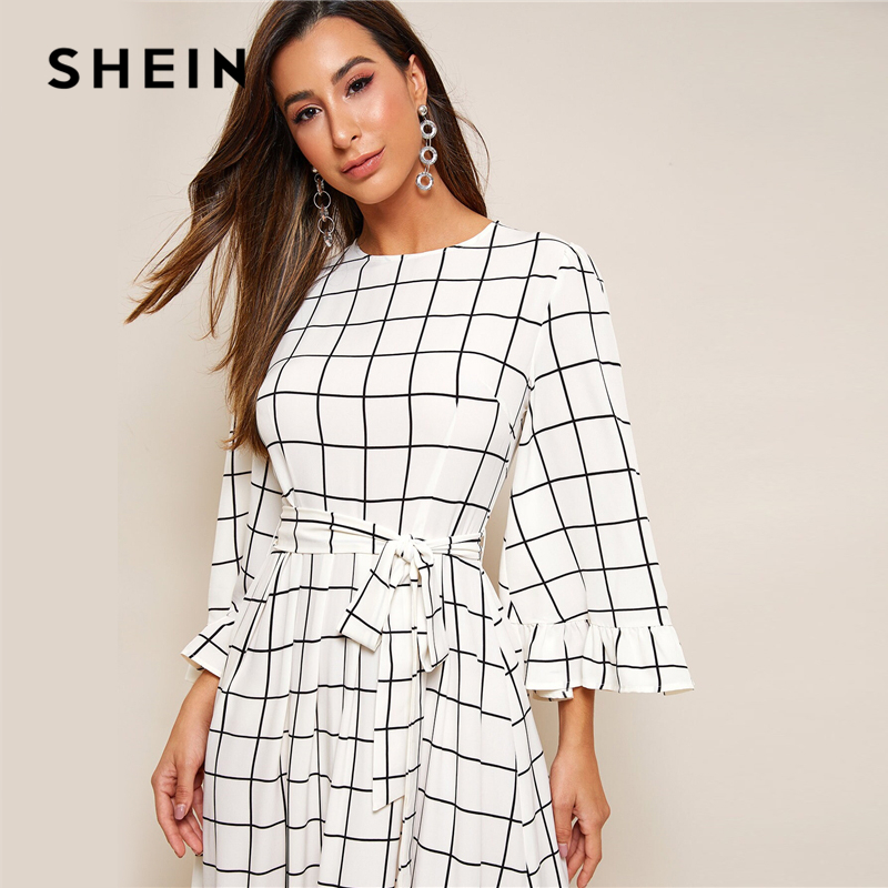 SHEIN Abaya Bell Sleeve Flounce Hem Grid Belted Maxi Dress Women Autumn Zip Back Round Neck Elegant A Line Plaid Modest Dresses 4