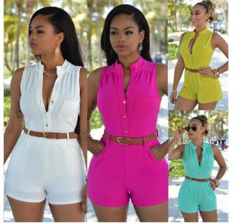 2020 Spring Summer New Sexy Casual Off Shoulder Button  Waist Belted Jumpsuit Women Girls Sleeveless Playsuit Romper Plus Sizes grey casual velvet off shoulder drawstring waist jumpsuit