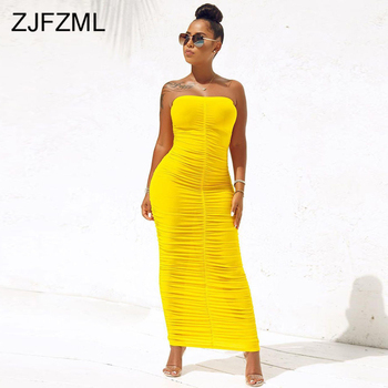 Sexy Backless Ruched Wrap Dress for Women Sleeveless Bodycon Causal Maxi Dresses Plus Size High Waist Solid Package Hip Dress 1