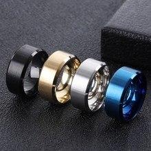 8mm Edelstahl Ring für Männer Retro Schwarz Gold Silber Blau Farbe Ring für Frauen Unisex Mode Schmuck für geschenk Party WC005