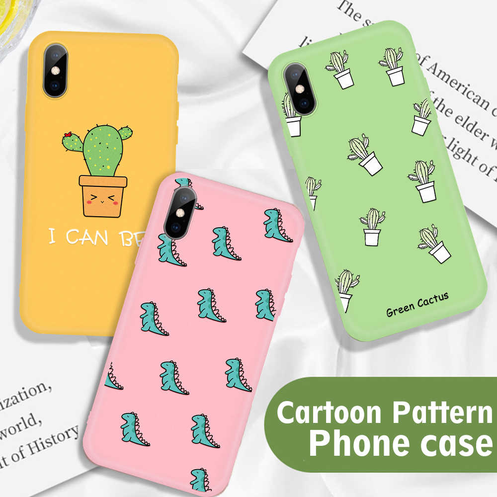 Candy Color Patterned Case For iPhone 11 Pro XS Max X 5 5S SE 6s 6 S 7 8 Plus Cactus Dinosaur Printing Cases Soft Silicone Cover