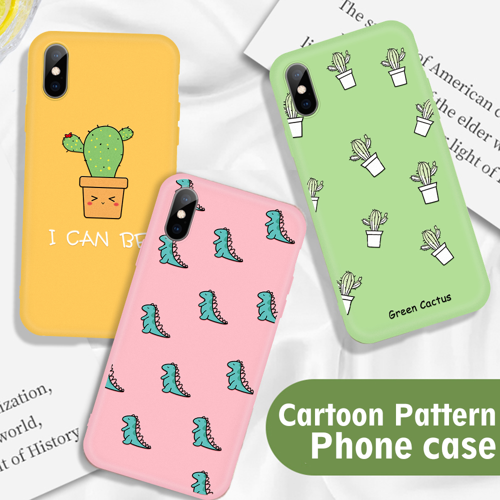 Candy Color Patterned <font><b>Case</b></font> For <font><b>iPhone</b></font> 11 Pro XS Max X 5 5S SE 6s 6 S <font><b>7</b></font> 8 Plus Cactus <font><b>Dinosaur</b></font> Printing <font><b>Cases</b></font> Soft Silicone Cover image