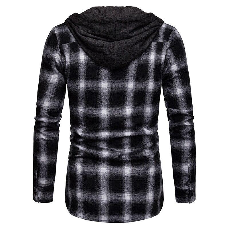 Camisas a cuadros de hombre nueva moda coreana salvaje de manga larga de franela con capucha camisa Casual ajustado Fit más tamaño de algodón ropa de hombre rojo - 6