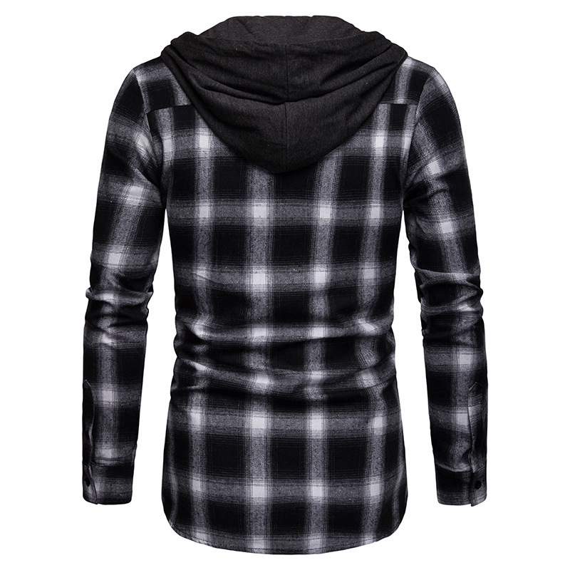 Men Plaid Shirts New Fashion Korean Wild Long Sleeve Flannel Hooded Shirt Casual Slim Fit Plus Size Cotton Men Clothes Red - 6