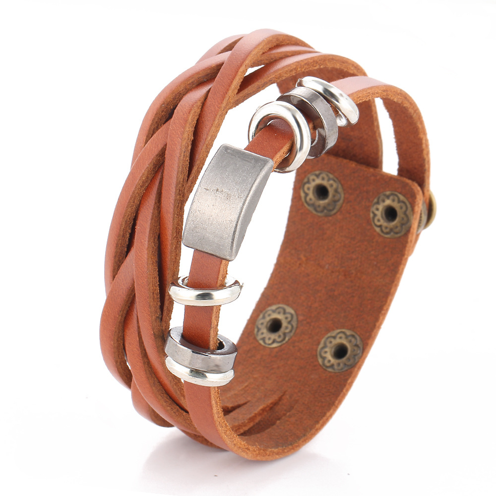 Vintage Braided Wrap Leather Bracelets for Men Classic Ethnic Tribal Wristbands Bracelet Gifts For Friends Male Jewelry Fashion