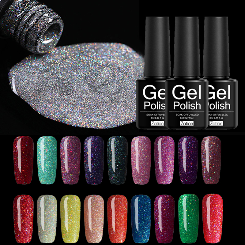 Zation Top Manicure Gel Polish Neon Sequins Painting Gel Lacquer Semi Permanent UV LED 8ml Glitter Sparkling Gel Hybrid Varnish
