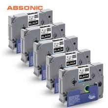Absonic 5 шт. TZ этикетки лента TZe-325 TZ-325 Brother P-Touch cube PT-D210 PT-H110 PT-D400 PT-D600 машины для ярлыков чёрный с белыми пятнами 9 мм* 8 м
