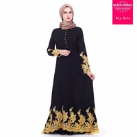 Muslim Adult golden embroidery Robe Musulmane Dubai Fashion single breasted Muslim Abaya Dress Worship Service abayas Wj2639