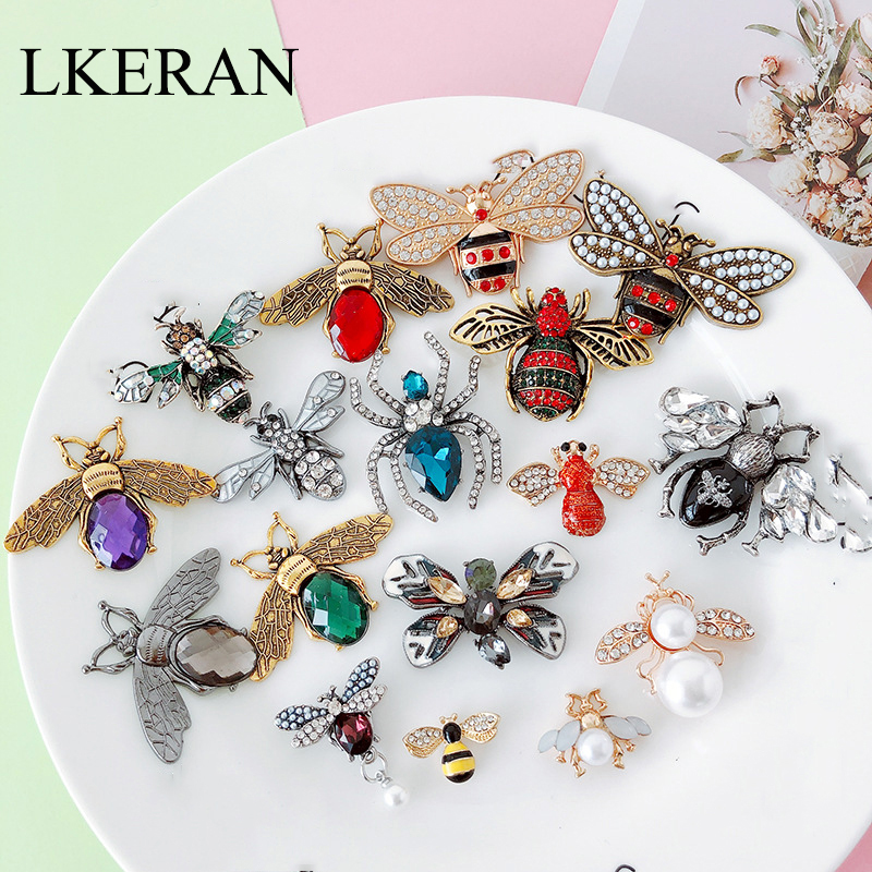 LKERAN 1PC 25-styles Cute Pearl Crystal Studded Insects Brooch <font><b>button</b></font> for Fashion Dress Coat Accessories Jewelry/ 25mm-<font><b>50mm</b></font> image