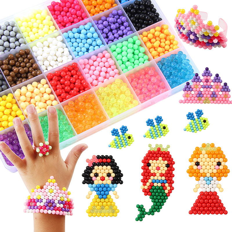 500pcs Crafts for Kids Beads Multicolor Magic Toys Water Mist Bead Set DIY Fake Sprinkles Sticky Children Beads Toys Girls Gift