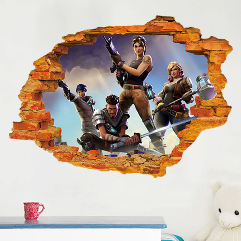 3D stereo wall effect gamer character stickers game room wall decal children's room background wall decoration wall stickers