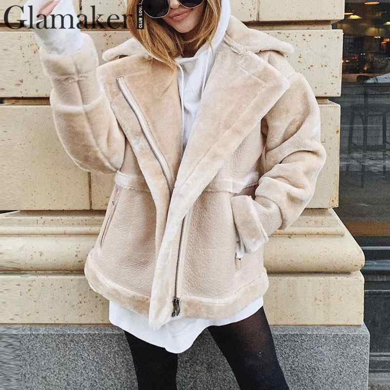 Glamaker Faux fur sheep skin coat women outerwear Cozy casual warm pocket plush fur oat female winter coat padded russian jacket