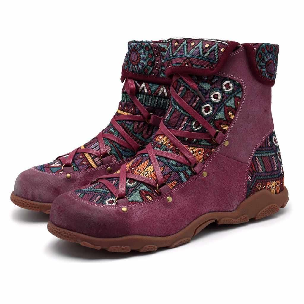 2019 yeni kış kadın çizmeler Retro eğlence nakış dikiş zip yarım çizmeler çapraz bağlı rahat kadın ayakkabı düz ayakkabı