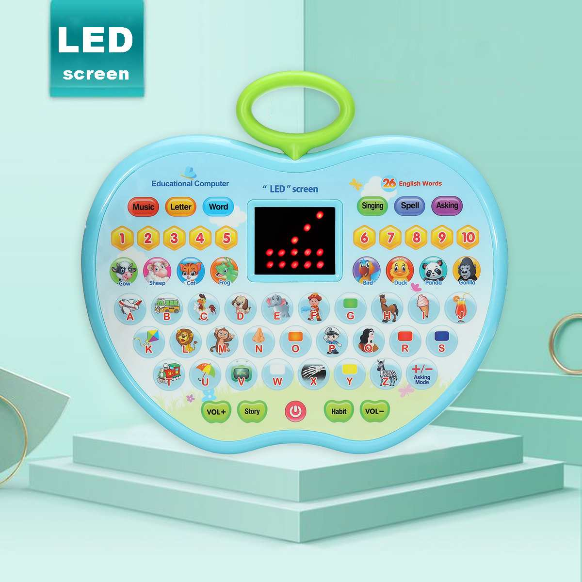 Children LED Screen Learning Machine Kids <font><b>Toys</b></font> Multifunction Educational <font><b>Laptop</b></font> Portable Learning Tablet Educational <font><b>Toy</b></font> For Kid image