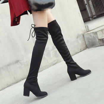2020 Black Elastic Flock Slim Fit Over The Knee Boots Women Lace up ladies High heel Chunky heel Long Thigh High botas Shoes spring autumn women over the knee boots thick high heel woman thigh high long boots high quality plus size 34 40 41 42 43 botas
