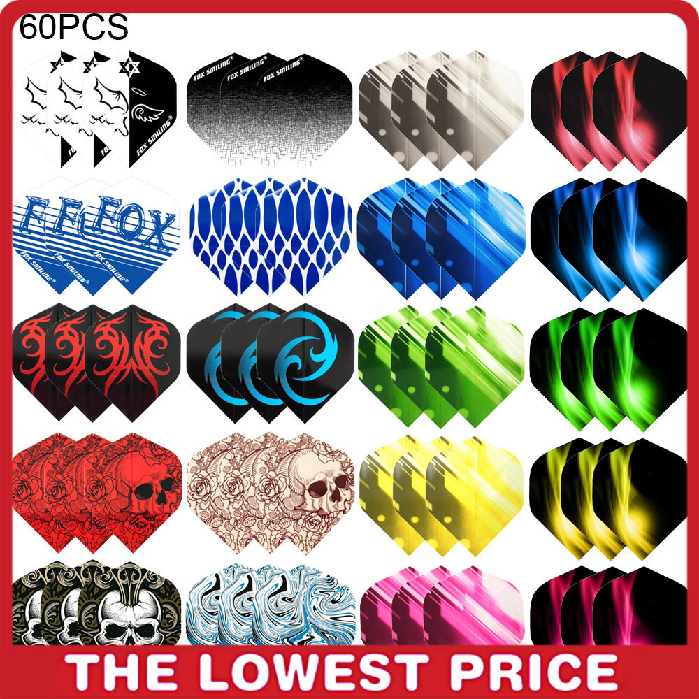 60/30 PCS Dart Flights Multiple Styles Colorful PET Darts Feather Leaves Dart Accessories Professional Dartboard Games