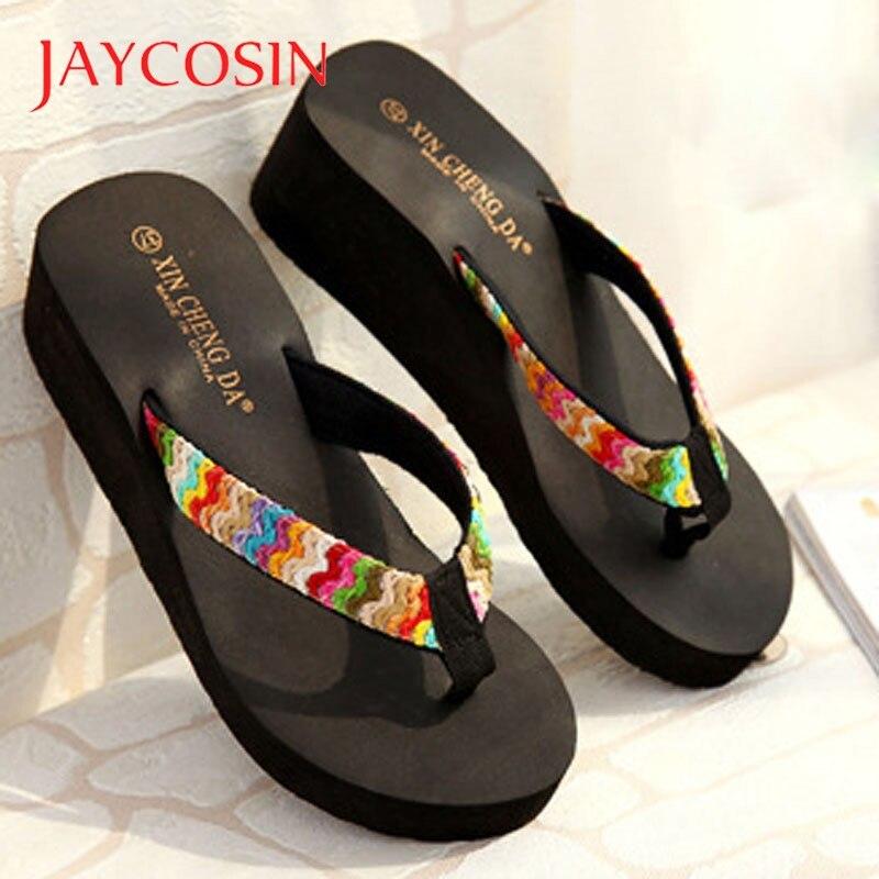JAYCOSIN Summer Wedge Platform Sandals slippers Women Beach Flip Flops Casual shoes woman sandals Beach Flat Patch Lady Slippers 1