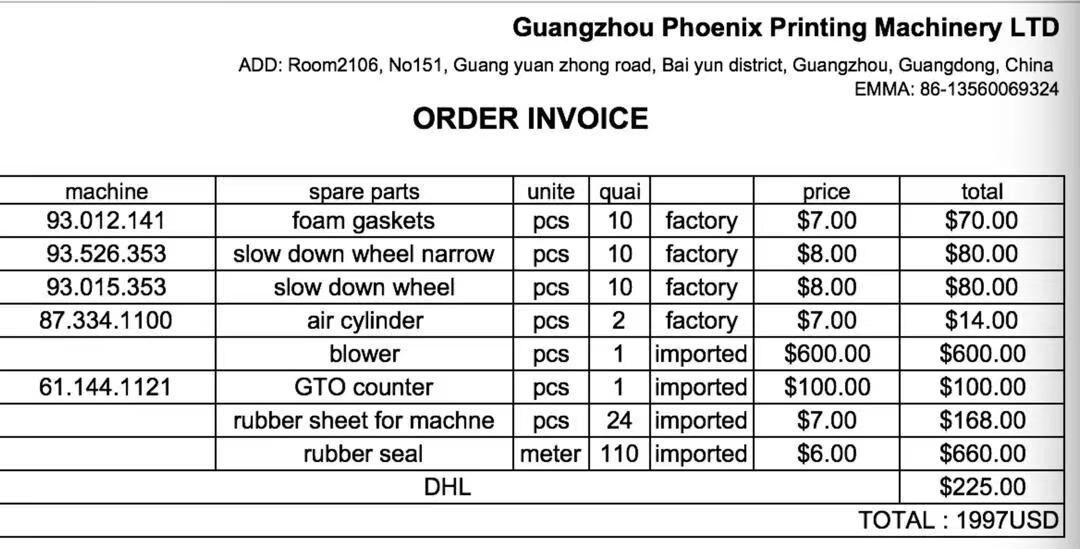 PHOENIX High Quality Heidelberg Spare Parts