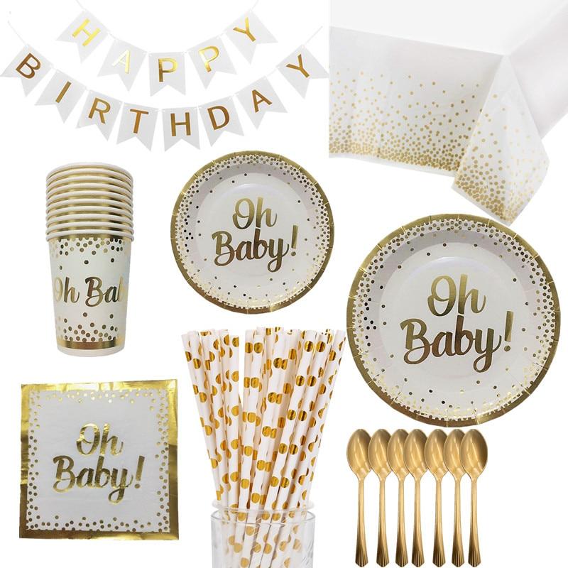 OEIN золото набор одноразовой посуды с надписью Oh Baby бумажные тарелки и стаканы салфетки День рождения столовые приборы Baby Shower Пол раскрыть р...