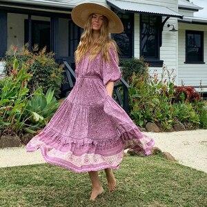 Image 4 - Vintage chic  Boho women Floral print tassel ruffles sleeve beach Bohemian maxi dress Ladies V neck happie dress vestidos