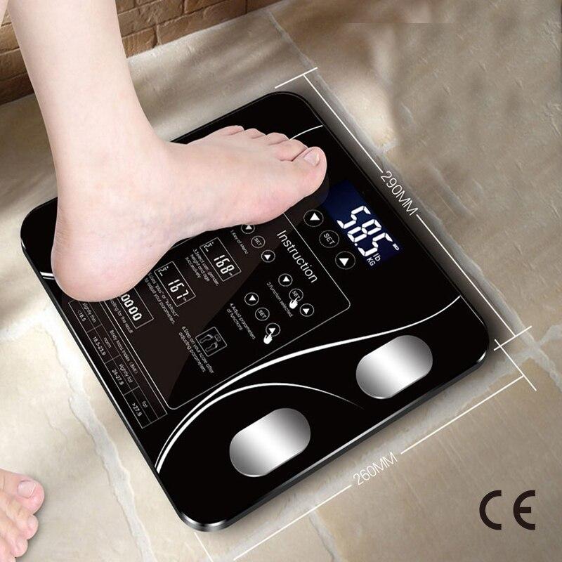 Certificação do ce usb de carregamento sakura inteligente escala de peso do agregado familiar escala de gordura led digital função inglês tela de carregamento usb