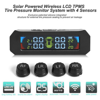 цена на Solar Color LCD TPMS Wireless Car Tire Pressure Temperature Monitoring System With 4 Sensors Car Alarm System Tire Pressure