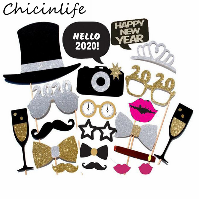 Chicinlife 20Pcs Happy New Year 2020 Photo Booth Props With Hat Glasses Moustache New Year Eve Party Christmas Decor Supplies