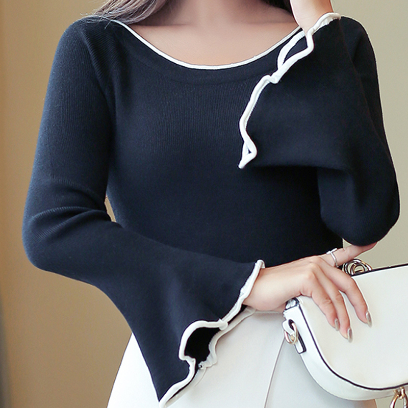 Women Sweater Pullover 2019 New Autumn Winter Tops Women Knitted Pullovers Shirt Female Brand Long Sleeve Shirt Spring 02G