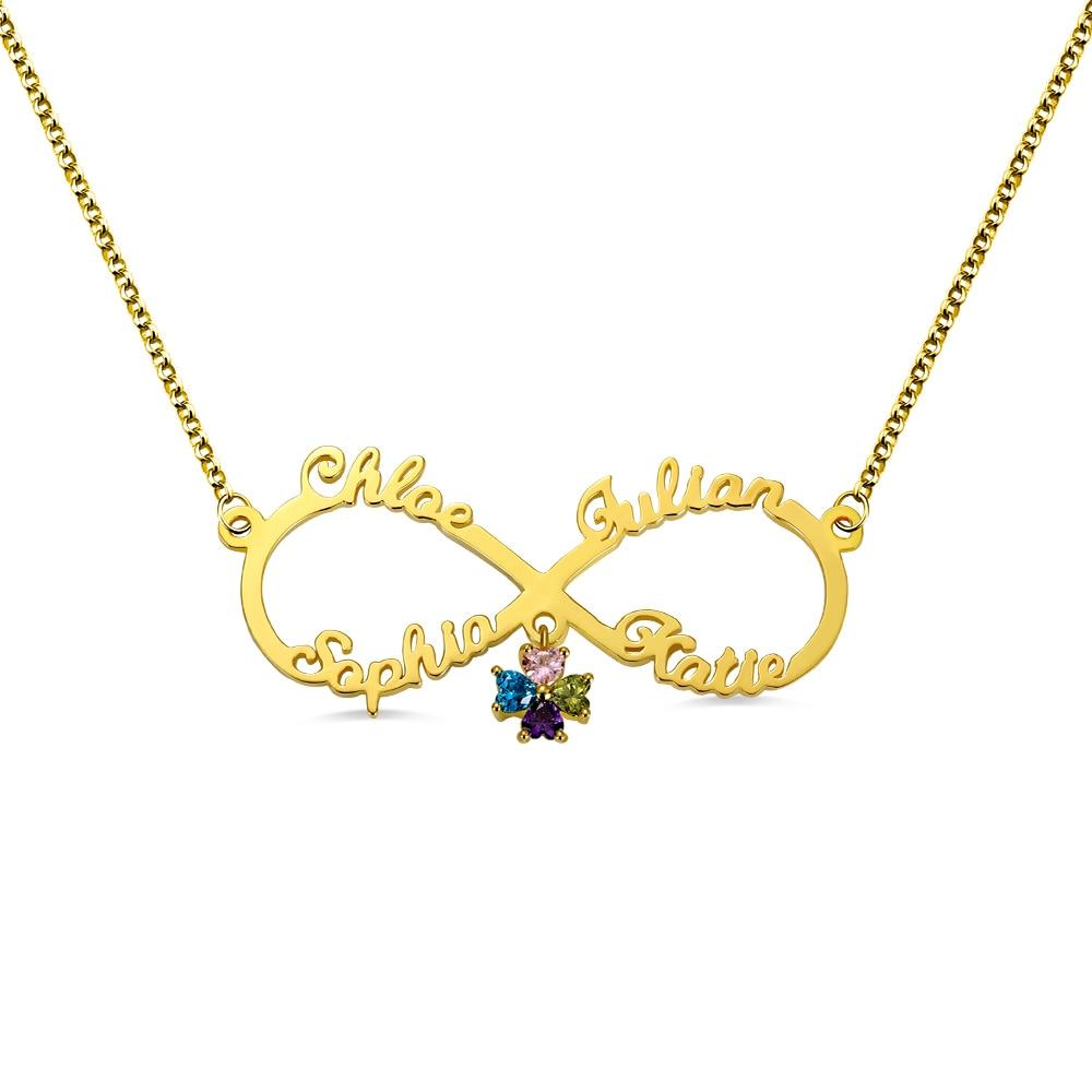 AILIN nom personnalisé Couple collier personnalisé Infinity pierres pendentif collier meilleur ami cadeau femmes collier personnalisé collier