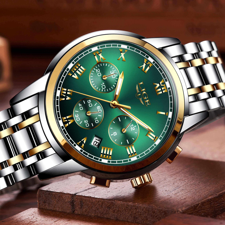 Relojes Hombre 2020 ליגע חדש שעונים גברים יוקרה מותג הכרונוגרף זכר ספורט שעונים עמיד למים נירוסטה קוורץ גברים שעון