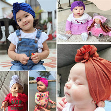 2019 Ins Cotton Solid Fold Flower Baby Indian Head Cap Skullies Beanies Kids Children Hats Apparel Accessories -YSC