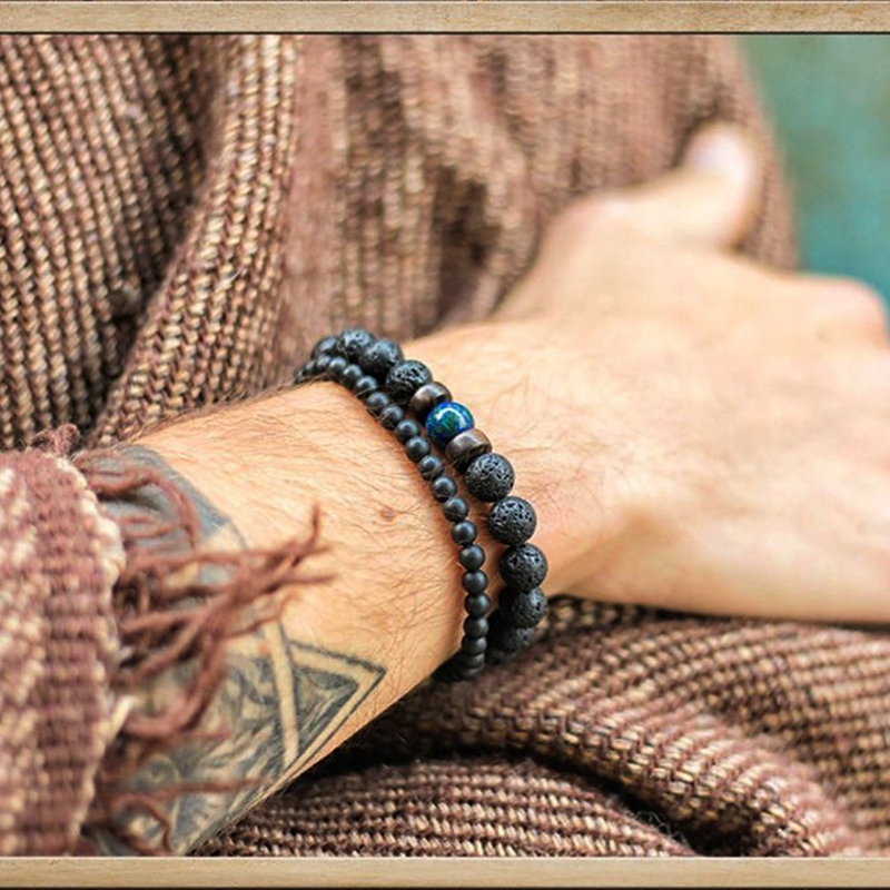 Lava Stone Men Bracelet Natural Moonstone Bead Tibetan Buddha Bracelet Chakra Diffuser Bracelets Men Jewelry Gifts Drop Shipping 1
