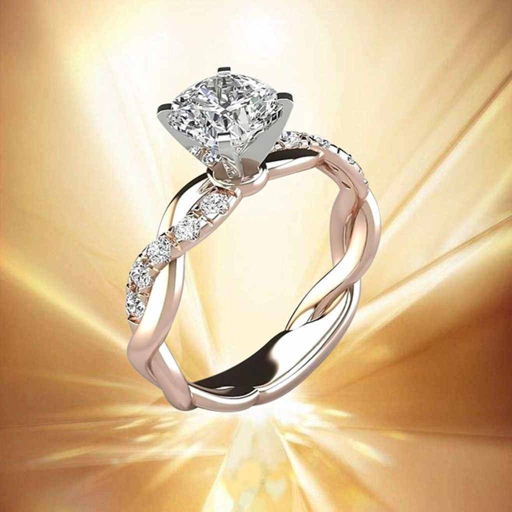 ผู้หญิงแหวนเงินเจ้าสาว Zircon หญิง Elegant หมั้นแหวน Lady Fine เครื่องประดับแหวน