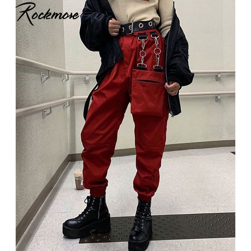 Rockmore Harajuku Ribbon Cargo Pants Women Plus Size Joggers Winter Sweatpants Trousers Black Loose Wide Leg Sweat Pants Femme