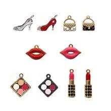 Craft Earring-Keychain Lipstick-Bag Jewelry-Making Metal Charms Make-Up High-Shoes Handmade