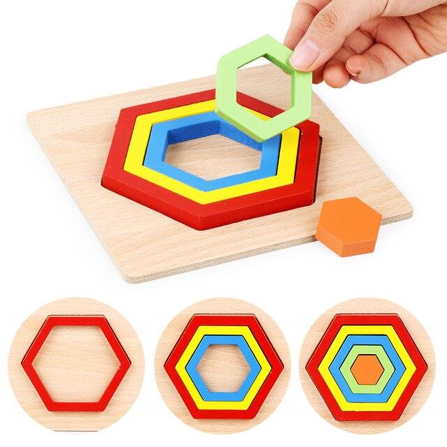 QWZ DIY Creative 3D Wooden Puzzle Geometric Shape Jigsaw Intelligence Develop Montessori Educational Toys For Children Kids Baby