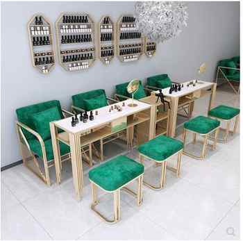 Net red light luxury manicure table and chair set marble iron manicure table worktable single double three person economic type - DISCOUNT ITEM  27 OFF Furniture