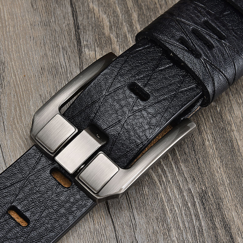 Fiery Authentic Men's Leather High Quality Classic Belt Alloy Pin Buckle Men's Matching Jeans Business Cowhide Belt